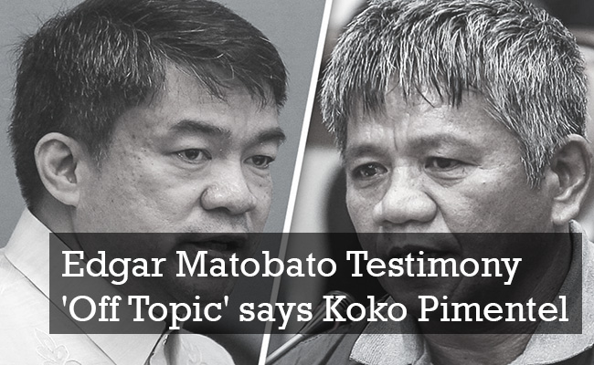 Edgar Matobato Testimony 'Off Topic' says Koko Pimentel