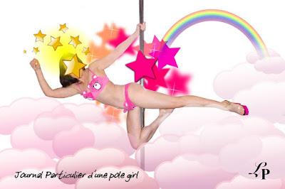 photographie, pole dance, montage, bisounours, étoile, nuage, arc-en-ciel, lola plumeti, journalpolegirl