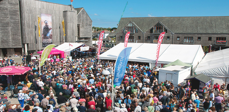 crowds outside the National Maritime museum in Falmouth for the Shanty festival
