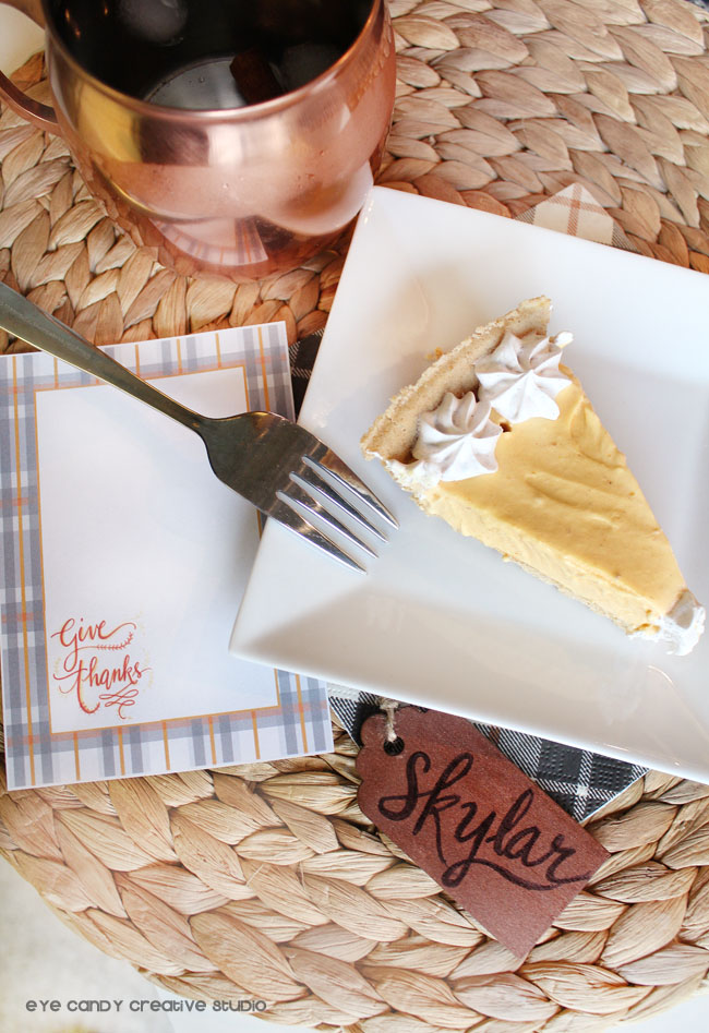 sugar & spice ice cream pie, give thanks card, slice of pie, plaid, copper