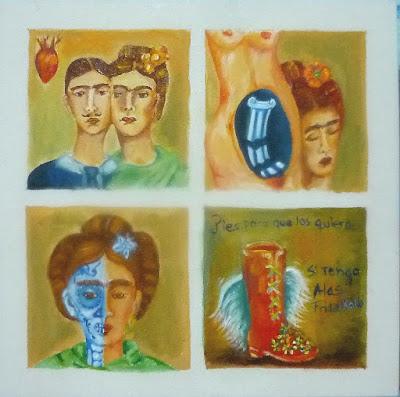Gladys Calzadilla, El laberinto de Frida, Pintura sobre Tela, 25 x 25 x 4 cm Galería de Arte Florida