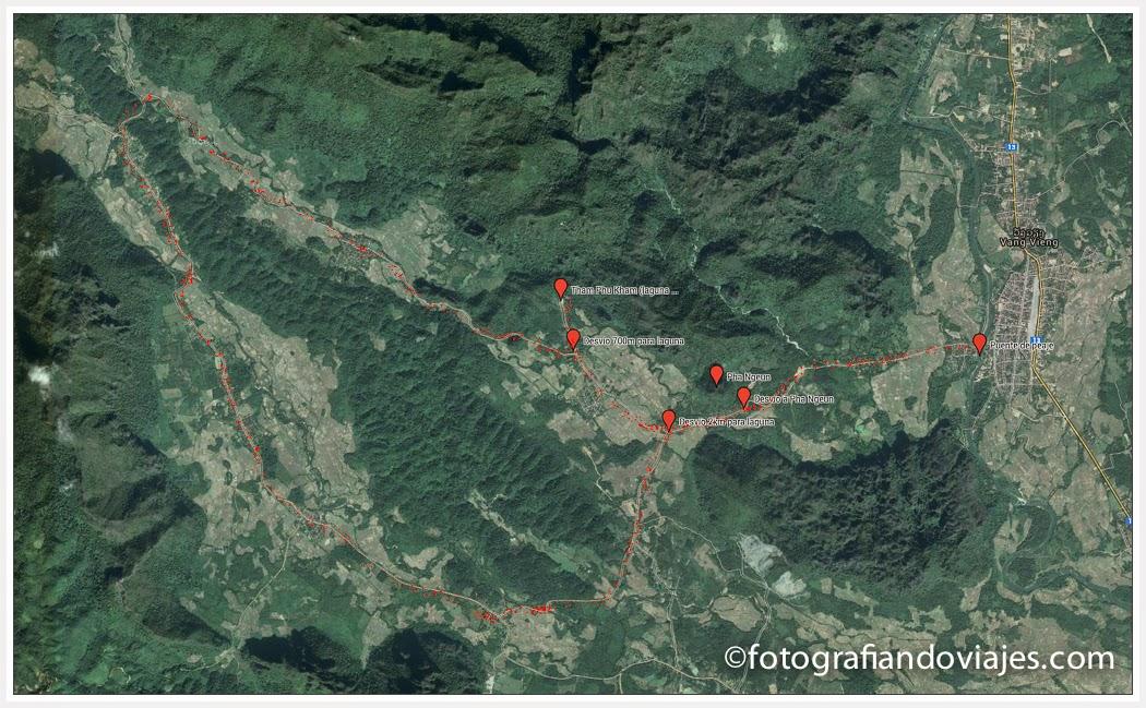 Mapa rutas en moto o bicicleta por Vang Vieng en Laos