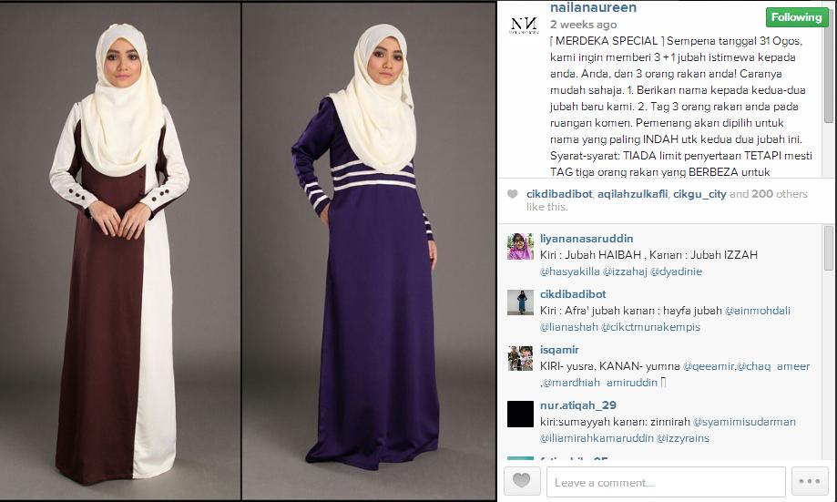 Menang 2 helai jubah Ana Marea & 2 helai jubah Ayra Bella dari butik Naila Naureen.