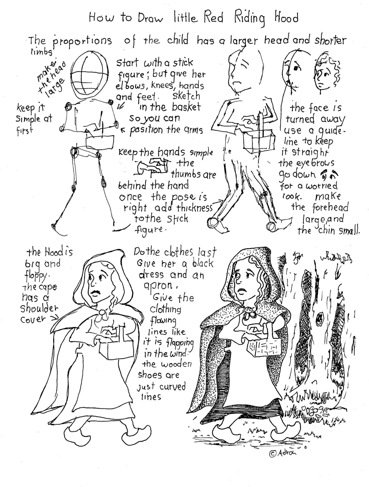 How To Draw Worksheets For The Young Artist How To Draw Little Red Riding Hood Worksheet