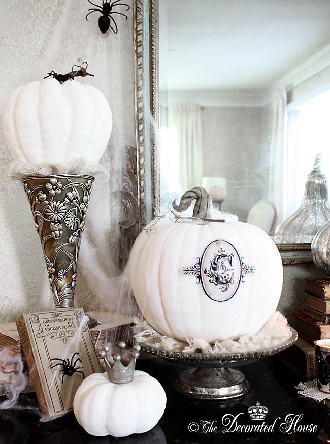 The Decorated House - Halloween Decorating - Monogrammed Pumpkin, Pure White Annie Sloan Chalk Paint
