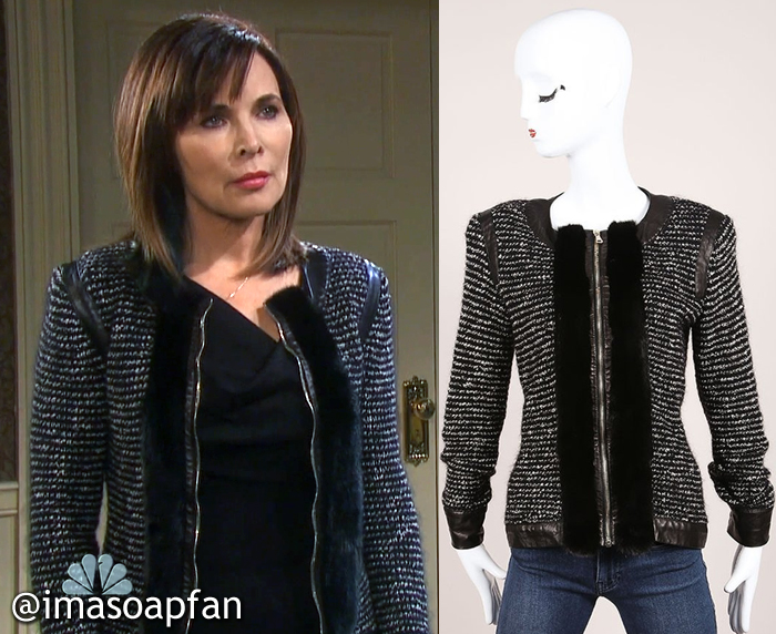 Kate Roberts's Tweed Jacket with Leather and Fur Trim - Days of Our Lives, Season 51, Episode 09/15/16