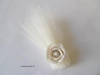 μπομπονιερα γάμου κλασσικη με τούλι λουλουδι ρομαντικη vintage