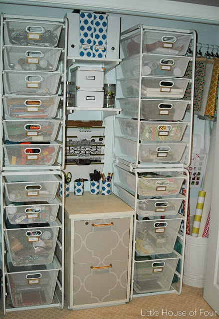 Organized craft closet, Ikea Algot System