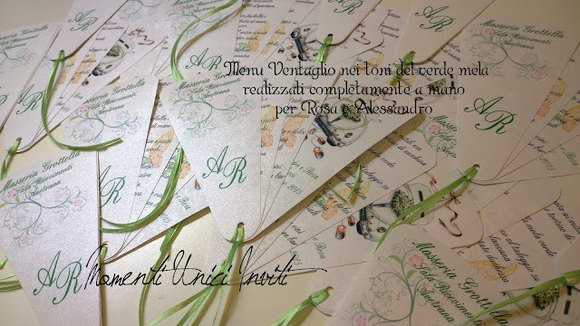 WP_20150527_013 I menù ventaglio realizzati per Rosa e AlessandroColore Bianco Colore Verde Colore Verde Menta Menù Verde Mela
