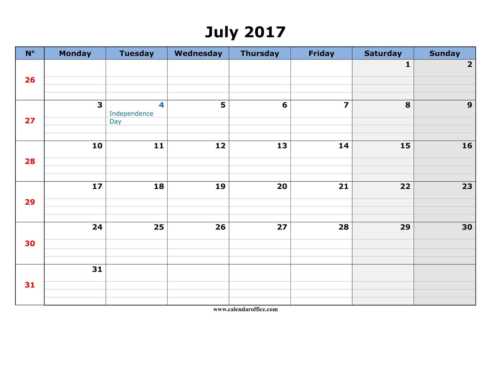 July 2017 Calendar Printable   July 2017 Calendar Template - Blank ...