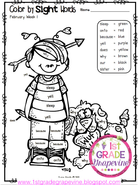 1st Grade Grapevine Valentines Day Math and Reading
