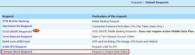 Cheque Book Request in Bank of India