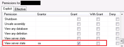 The user does not have permission to perform this action, SQL Server