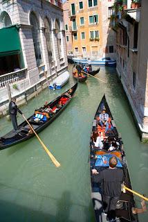 Gondola Traffic Jam Venice Italy