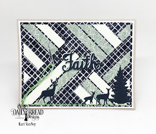Our Daily Bread Designs Stamp/Die Duos: Walk By Faith, Custom Dies: Quilted Background, Sewing Die, Trees & Deer, Beautiful Boho, Chalkboard, Pastel