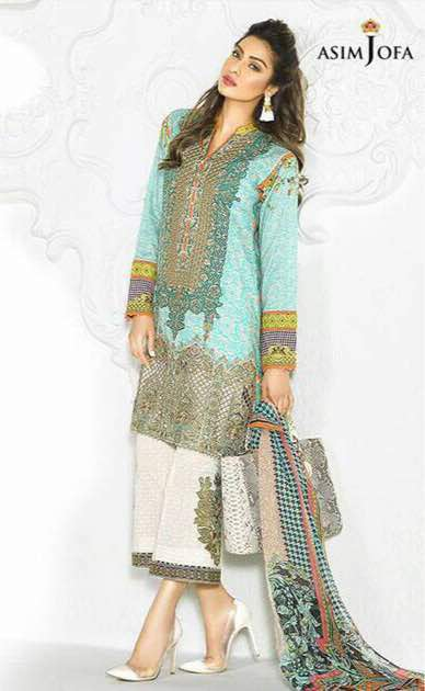 344f66eaef Asim Jofa Embroidered Lawn Suit With Lawn Dupatta - Jiddat ...