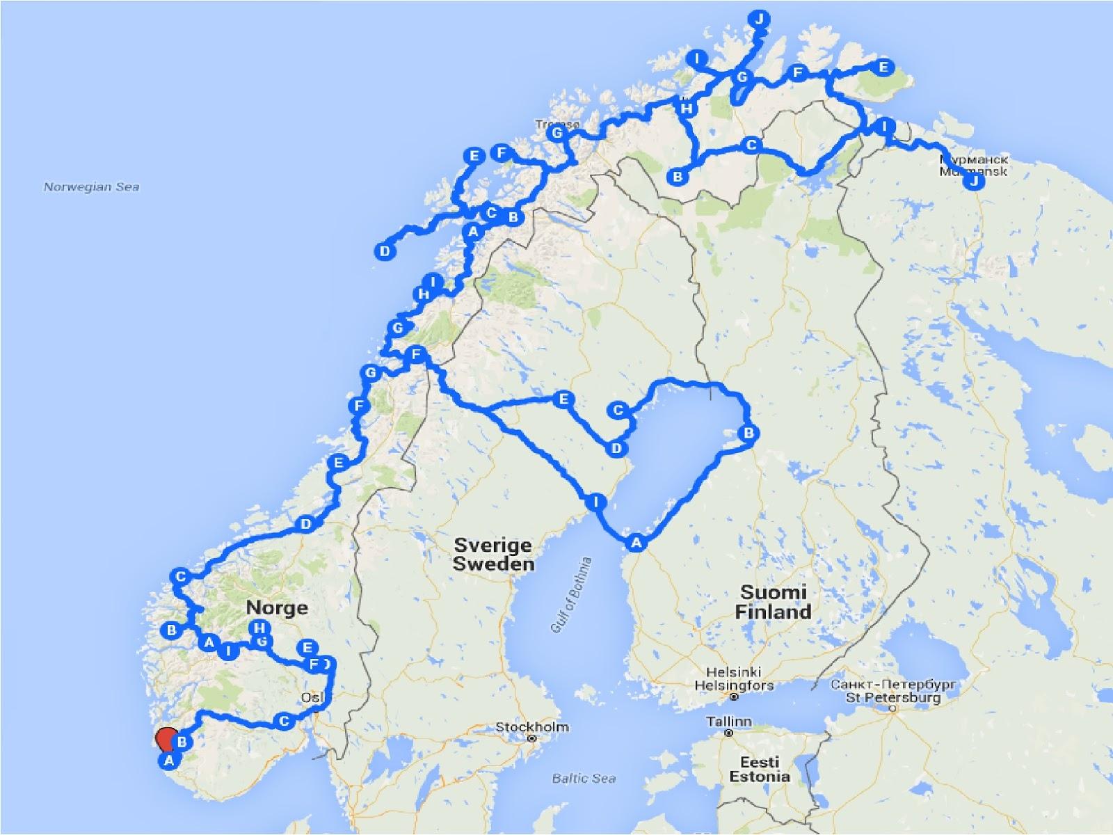 kart europa kjørerute Janne og Franks reise og bobilblogg: Vår reviderte kjørerute i Norge. kart europa kjørerute