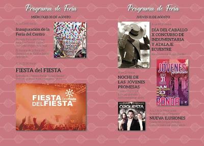 FERIA DE RONDA 2017 - PROGRAMA DÍAS 30 Y 31 DE AGOSTO