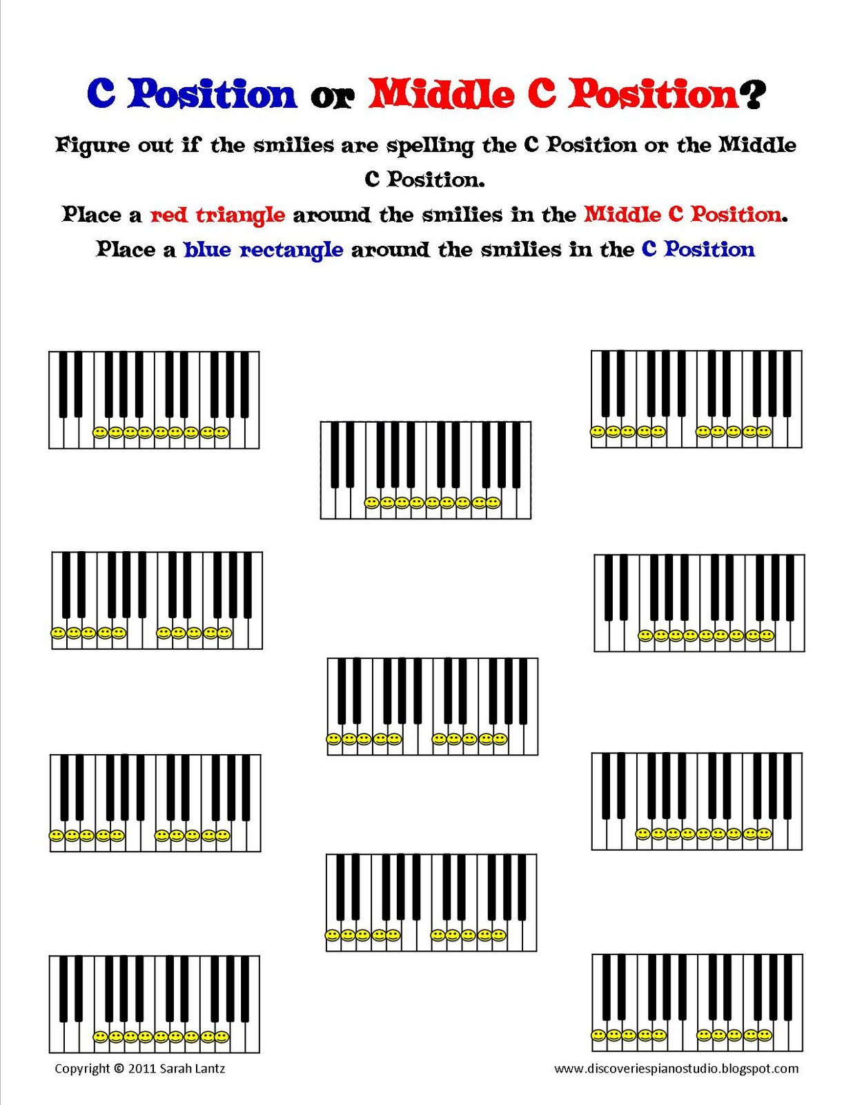 Discoveries Piano Studio New Worksheets To Help Learn C And Middle C Positions