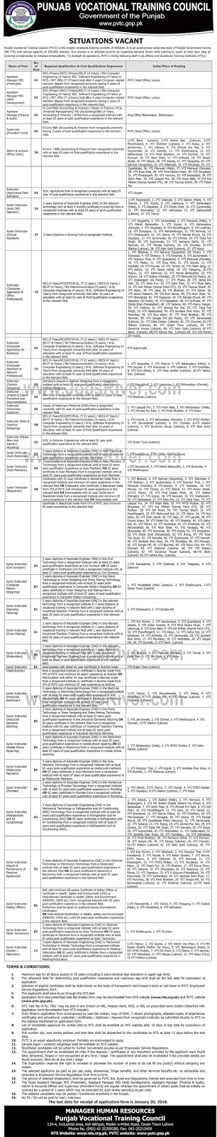 Jobs In Punjab Vocational Training Council - Lahore Jobs 2018