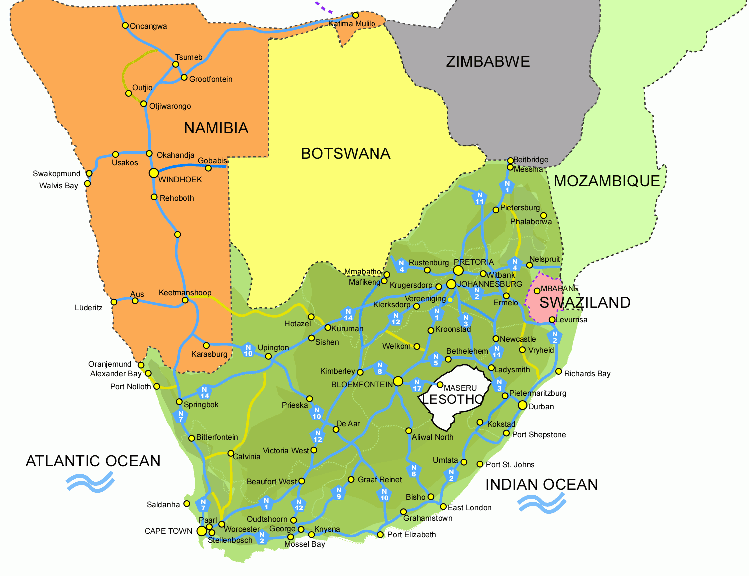 Map Of South Africa And Namibia.South Africa Map Pictures