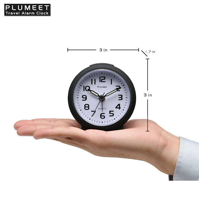 Plumeet Non Ticking Travel Alarm Clock with Snooze and Nightlight, Cute Colour for Kids, Ascending Sound Alarm, Easy to Set, Handheld Sized, Battery Powered (Matte Black)