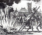 The burning of a 16th-century Dutch Anabaptist, Anneken Hendriks, who was charged with heresy
