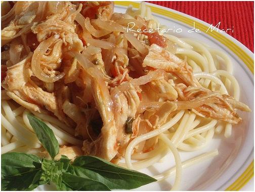 El Recetario De Mari Espaguetis Con Pollo Desmechado