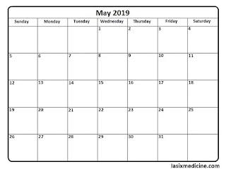 Free Printable Calendar May 2019