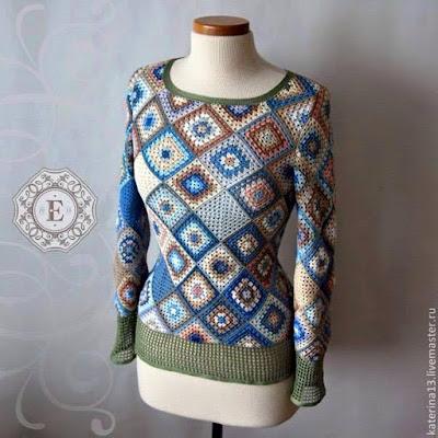 wzory ubrań z kwadratów szydełkowych