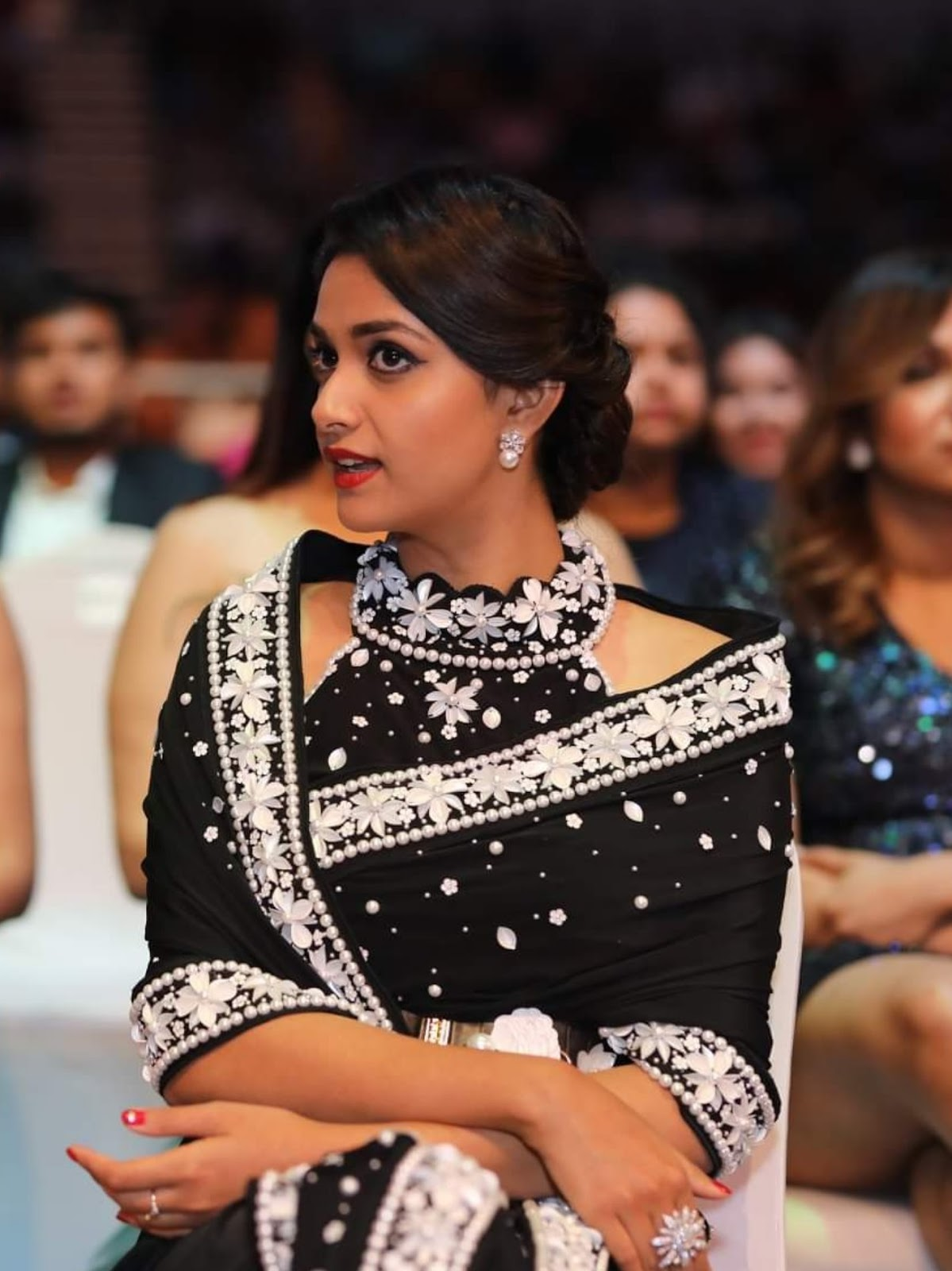 Keerthy Suresh in Black Saree with Cute Smile at SIIMA