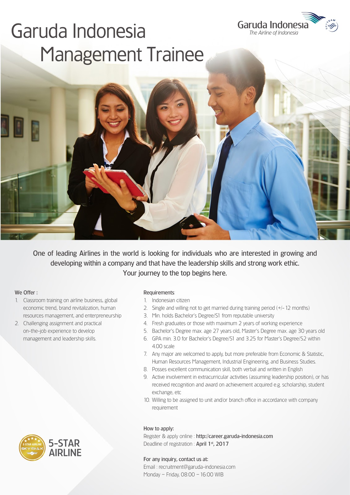 Rekrutmen Management Trainee PT Garuda Indonesia (Persero)