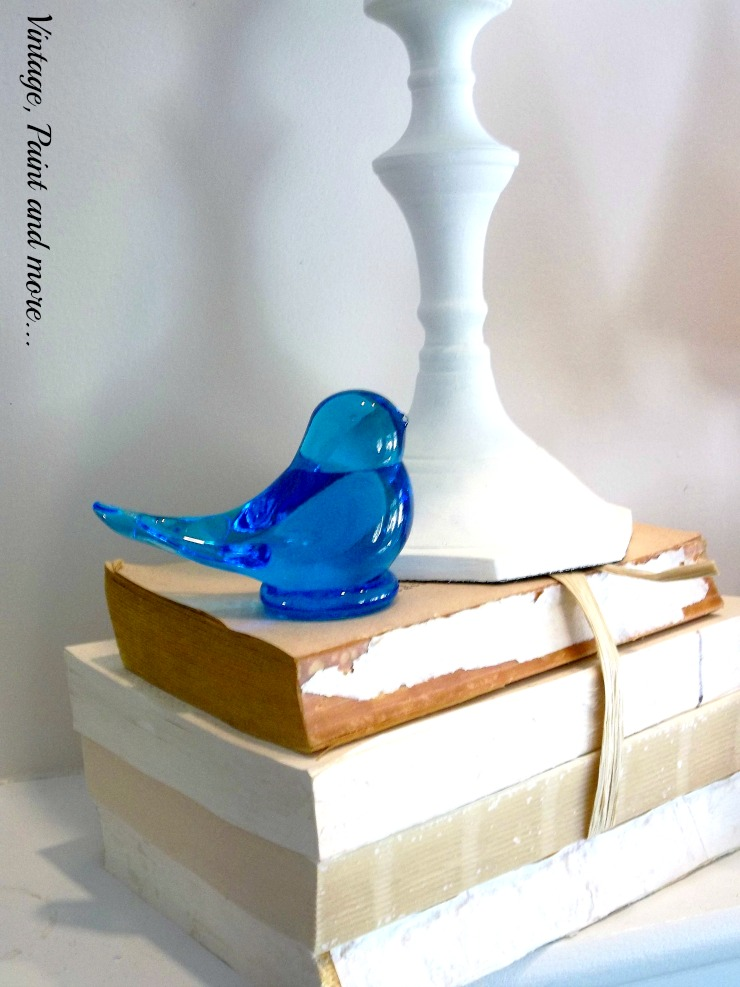 Vintage, Paint and more... antique blue glass bird for winter mantel decor
