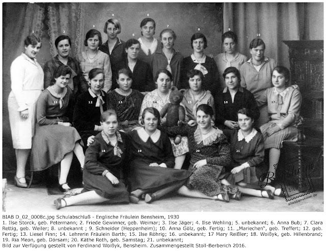 BIAB D_02_0008c.jpg Schulabschluß der englischen Fräulein 1930 Bensheim, Bild zur Verfügung gestellt von Ferdinand Woißyk, zusammengestellt von Stoll-Berberich 2016