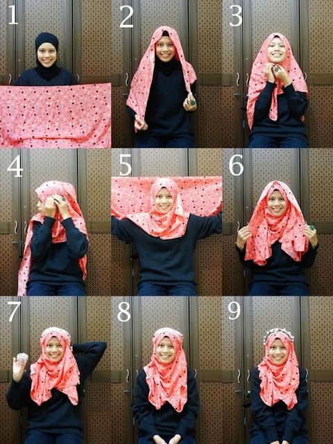 tutorial hijab segi empat modern style 2