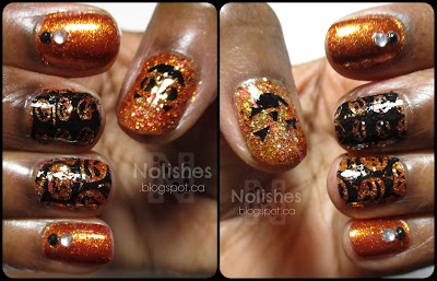 Manicure using a coppery-orange metallic foil polish, and an orange glitter, stamped with images of jack-o-lanterns in black. There are also some white and black nail gems accenting some nails.