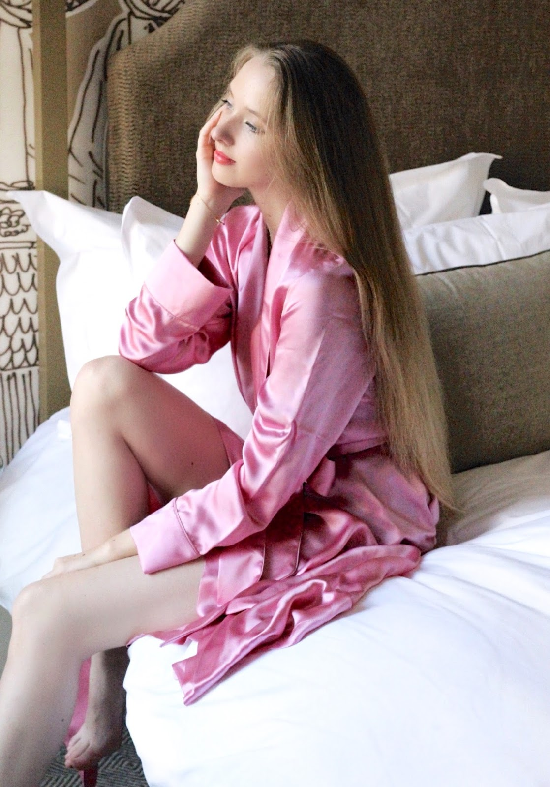 Bonsoir of London Luxury Pink Silk Dressing Gown