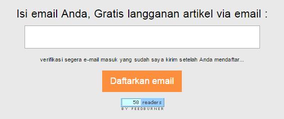 contoh form berlangganan yang dipasang di blog