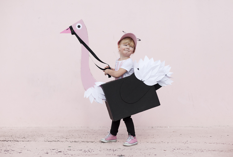 Fun kids ostrich jockey costume cardboard box