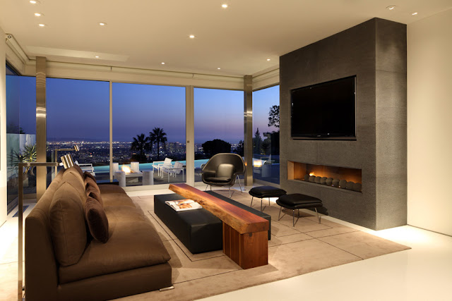 Living room and fireplace with the view