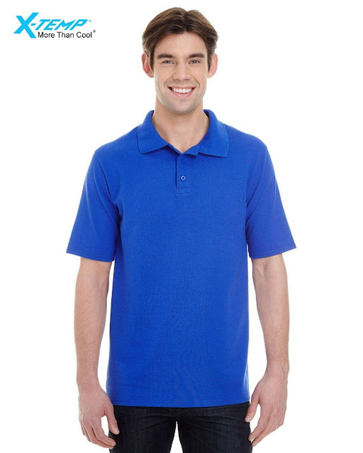 Hanes 055P Mens X-Temp Pique Short-Sleeve Polo- Royal – L