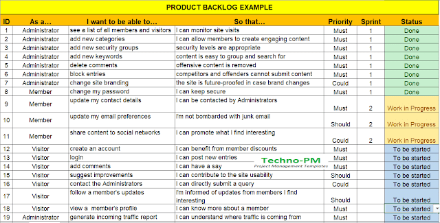 agile product backlog template, product backlog template excel