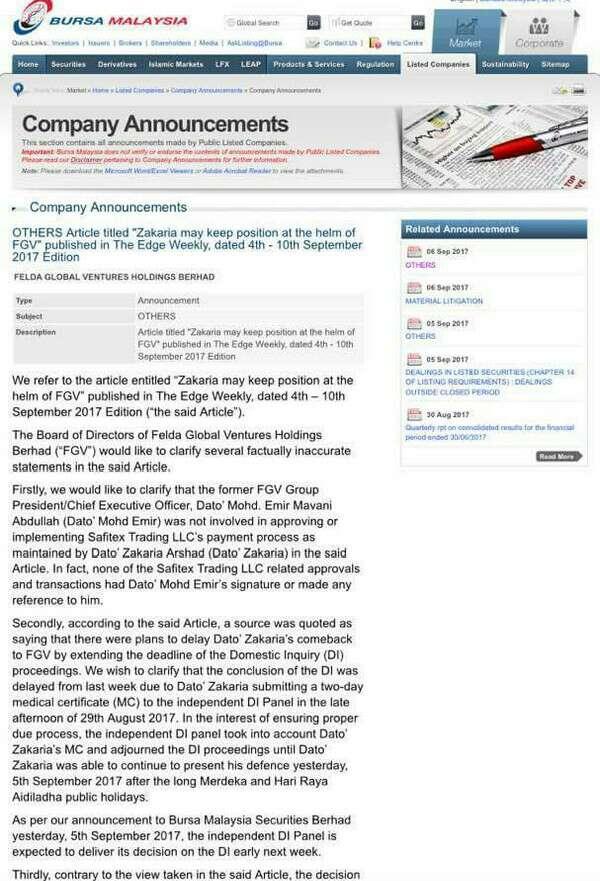 FGV Betulkan Kenyataan Media Mingguan Dalam Temu bual Bersama Datuk Zakaria