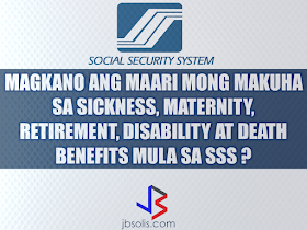 Are you a member of SSS?  We gathered these information to give you the idea on how much benefit you can get by being a member.  Sickness Benefit Computation The amount of a member's sickness benefit per day is equivalent to ninety percent (90%) of the member's average daily salary credit. Benefit Computation:  Exclude the semester of sickness.  -A semester refers to two consecutive quarters ending in the quarter of sickness. -A quarter refers to three consecutive months ending March, June, September or December.  -Count 12 months backwards starting from the month immediately before the semester of sickness.  -Identify the six highest monthly salary credits within the 12-month period.  -Monthly salary credit salary credit means the compensation base for contributions and benefits related to the total earnings for the month.  -Add the six highest monthly salary credits to get the total monthly salary credit. -Divide the total monthly salary credits by 180 days to get the average daily salary credit. -Multiply the average daily salary credit by 90 percent to get the daily sickness allowance. -Multiply the daily sickness allowance by approved number of days to arrive at the amount of benefit due.  For example, let us say that an SSS member gets sick or injured in October 2013 for 20 days: The semester of sickness would be from July 2013 to December 2013. The 12-month period would be from July 2012 to June 2013 within which the six highest monthly salary credits will be chosen. Let us assume that the six highest monthly salary credits are P15, 000 each. The total monthly credit would be P90, 000 (P15, 000 x 6). The total monthly salary credit would be divided by 180 to get the average daily salary credit of P500 (P90,000/180). The daily sickness allowance is 90 percent of the of the average daily salary credit or P450 (P500 x 90%). The sickness benefit due is P9,000 (P450 x 20 days). IMPORTANT!  The payment of the daily sickness allowance is advanced by the employer eve