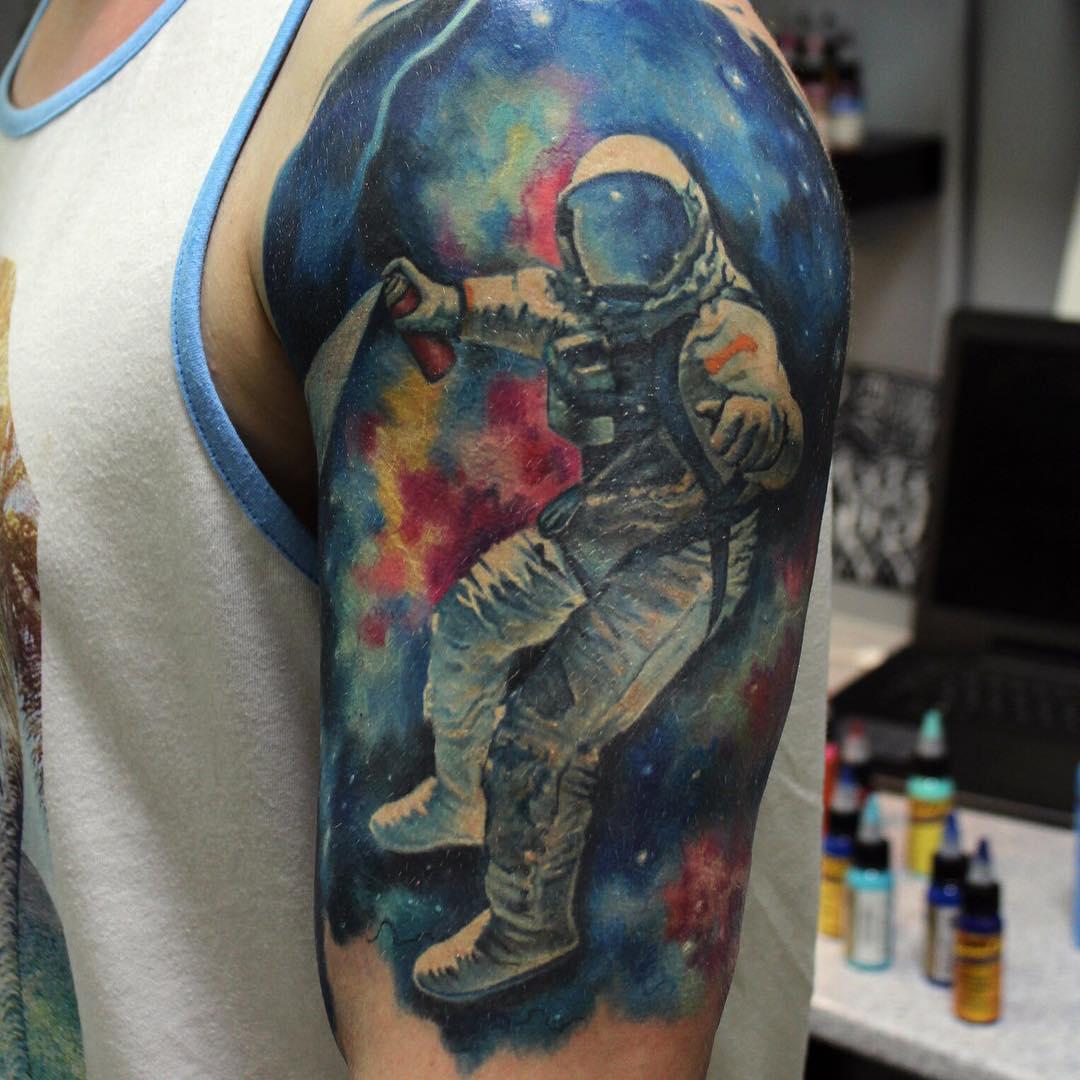 Astronaut Tattoo Ideas: Astronaut In Space Tattoo