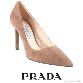Sophie Countess of Wessex wore PRADA suede pumps