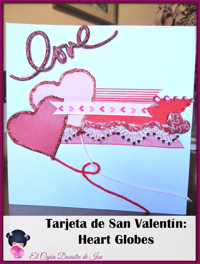 imagen para pinear de tarjeta scrapbooking de San Valentín en rojo y rosa con dos corazones en forma de corazón entrelazados y la palabra Love