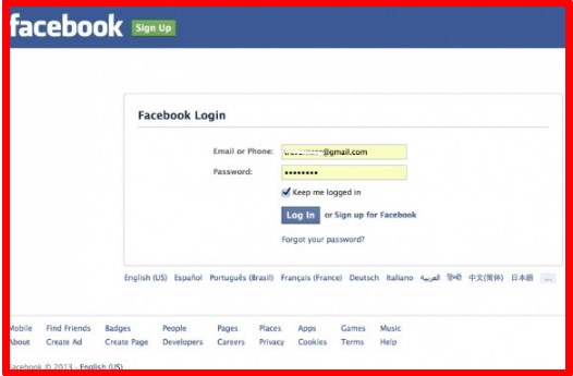 Facebook Login in English
