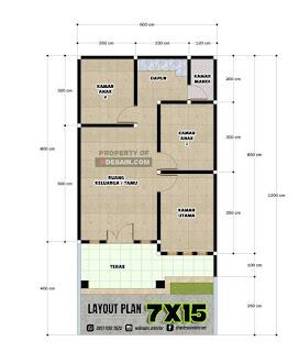 Denah Rumah Sederhana 3 Kamar Tidur 6X12