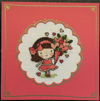 Cross stitched Valentine Card